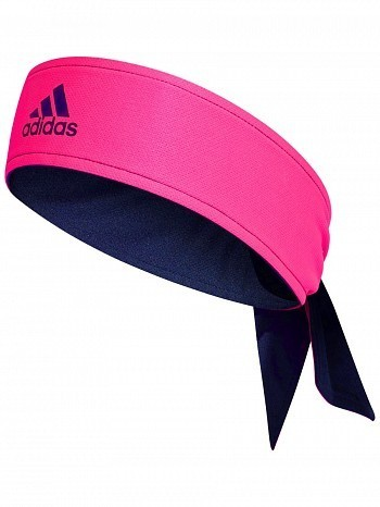 Adidas Pro Player Tennis Headband Tie Bandana Pink / Navy