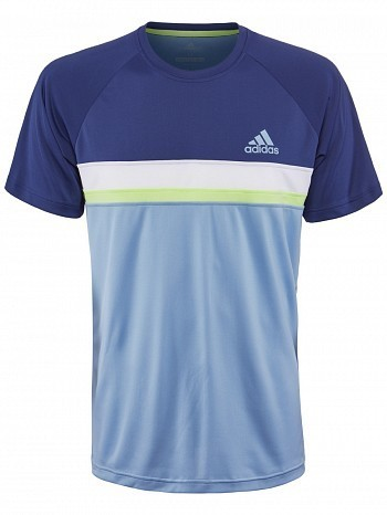 Adidas Pro Player ATP Tour Men's Club Colorblock Tennis Crew Tee Shirt, Blue