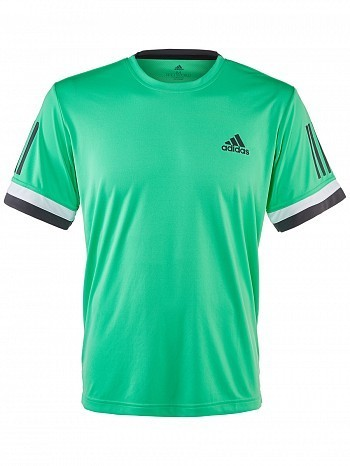 Adidas Pro Player ATP Tour Men's Club 3 Stripes Tennis Crew Tee Shirt, Green