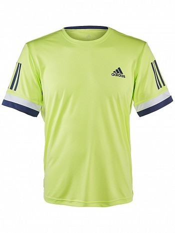 Adidas Pro Player ATP Tour Men's Club 3 Stripes Tennis Crew Tee Shirt, Yellow