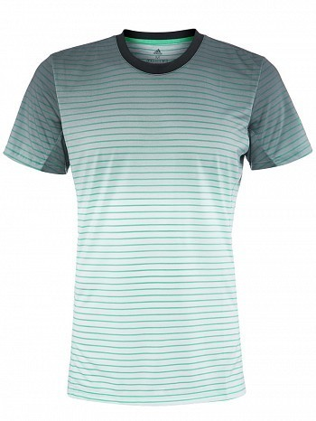 Adidas 2018 Australian Open Pro Player Men's Melbourne Striped Tennis Crew Tee Shirt, Green