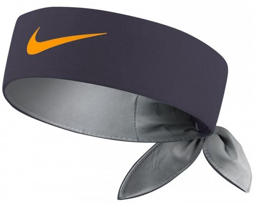 Nike Roger Federer Rafael Nadal Dri-Fit Tie Up Headband Bandana, Anthracite / Orange