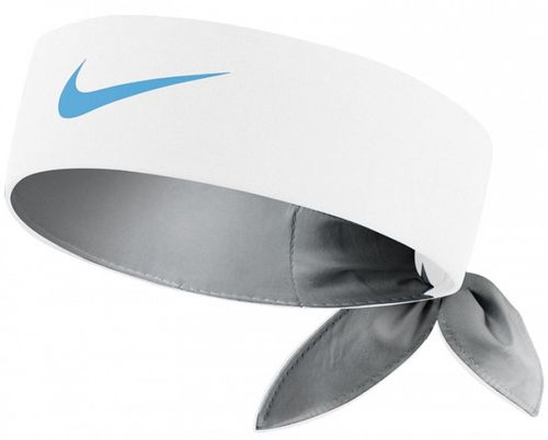Nike Roger Federer Rafael Nadal Dri-Fit Tie Up Headband Bandana, White / Blue