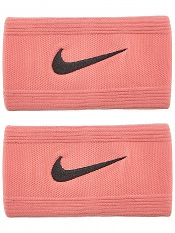 Nike ATP Master Pro Player Swoosh Doublewide Tennis Wristbands, Lava Red / Black