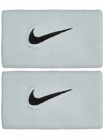 Nike ATP Master Pro Player Premier Swoosh Doublewide Tennis Wristbands, Grey / Black