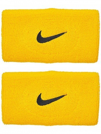 Nike ATP Master Pro Player Swoosh Doublewide Tennis Wristbands, Yellow / Black