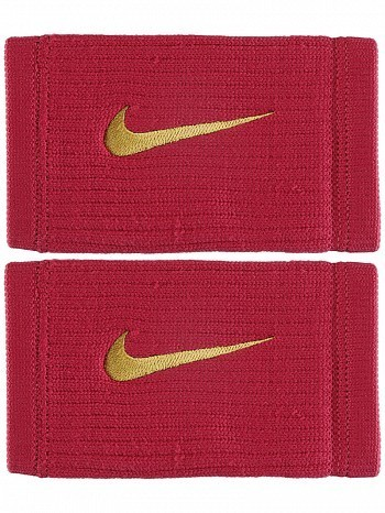 Nike ATP Master Pro Player Dri-Fit Reveal Swoosh Doublewide Tennis Wristbands, Dark Red