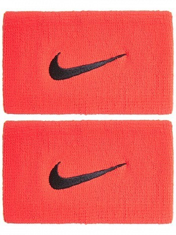 Nike Rafael Nadal  US Open Premier Swoosh Doublewide Tennis Wristbands, Red / Black