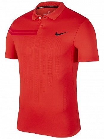 Nike Roger Federer ATP Master Tour Men's Court Zonal Advantage RF Tennis Henley Polo Red
