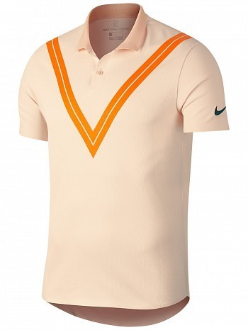 Nike Roger Federer US Open Men's Court Advantage RF TechKnit Cool Tennis Polo Shirt Orange