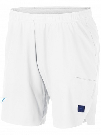 "Nike Roger Federer US Open Men's RF Court Flex Ace 9"" Tennis Shorts 23cm, White"