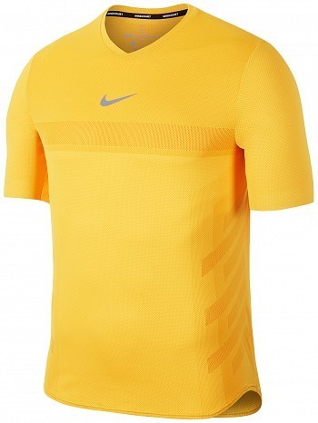 Nike Rafael Nadal 2018 French Open Men's Court AeroReact Rafa Tennis Crew Shirt Yellow