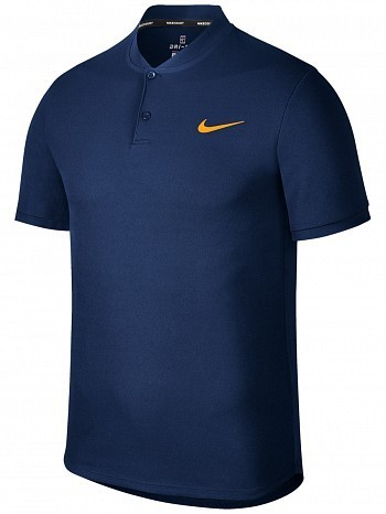 Nike ATP Pro Player US Open Men's Court Solid Dry Advantage Tennis Henley Polo Shirt Navy