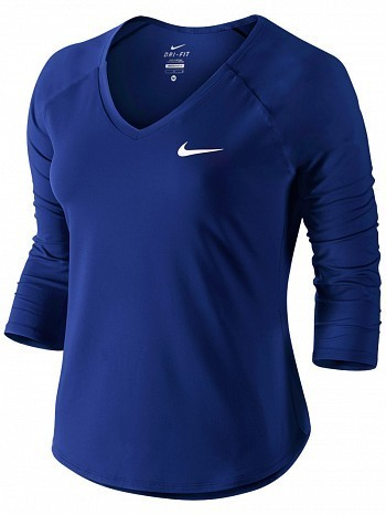 Nike Serena Williams Women's Court Pure 3/4 Long Sleeve Tennis Top Shirt Blue