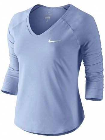 Nike Serena Williams Women's Court Pure 3/4 Long Sleeve Tennis Top Shirt Light Blue