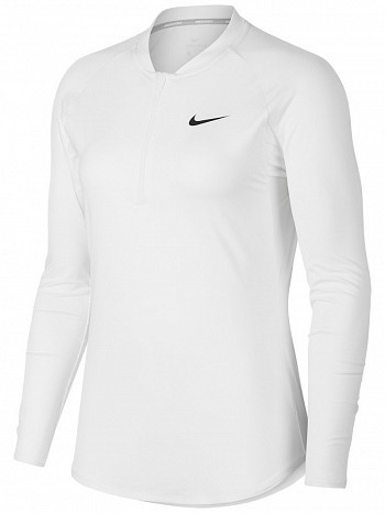 Nike Pro Player WTA Tour Women's Court Basic Pure Half-Zip Long Sleeve Tennis Top Shirt White