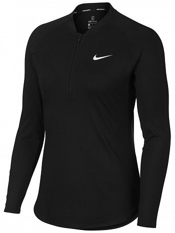 Nike Pro Player WTA Tour Women's Court Basic Pure Half-Zip Long Sleeve Tennis Top Shirt Black