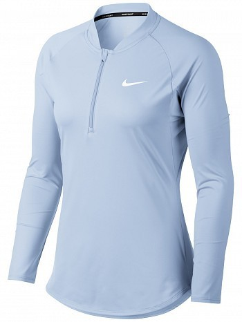 22158a56 Nike Pro Player WTA Tour Women's Court Basic Pure Half-Zip Long Sleeve  Tennis Top