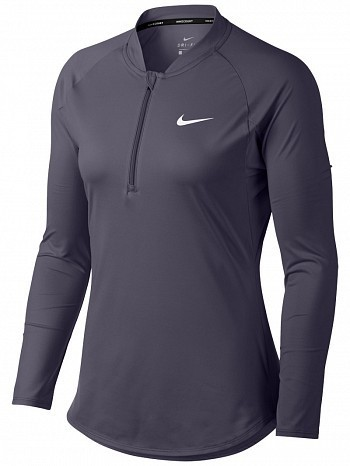 Nike Pro Player WTA Tour Women's Court Basic Pure Half-Zip Long Sleeve Tennis Top Shirt Grey