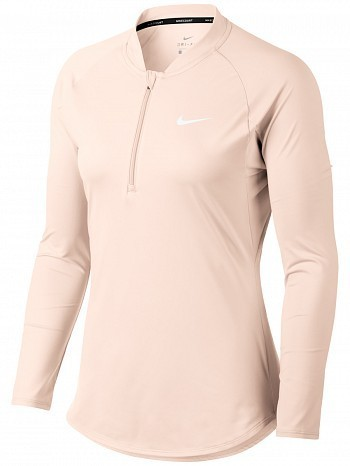 Nike Pro Player WTA Tour Women's Court Basic Pure Half-Zip Long Sleeve Tennis Top Shirt Peach