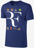 Nike Roger Federer LIMITED EDITION Family Tour Premier RF Emoji Tennis Tee Shirt, Navy