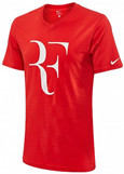 Nike Roger Federer RF Foundation Premier Logo Tennis Crew Top Tee Shirt, Red